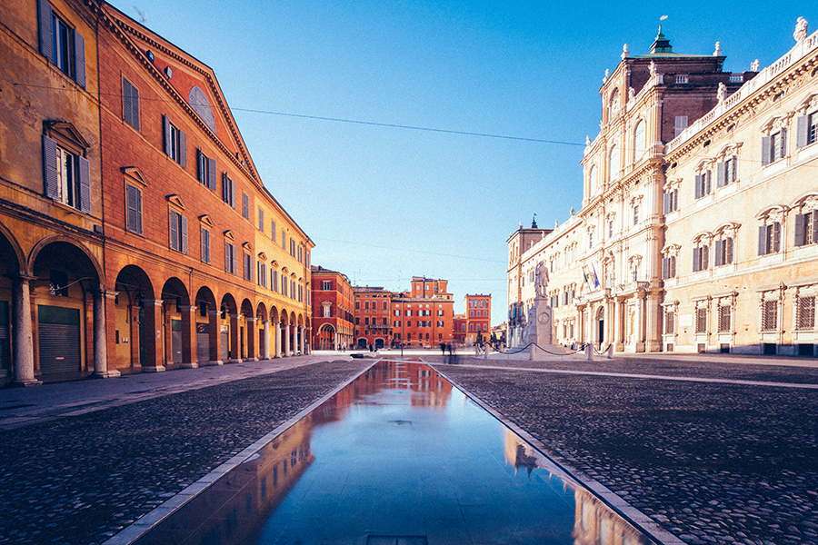 Modena, Emilia Romagna, Italy. Piazza Roma and Military Academy building - iStock by Getty Images