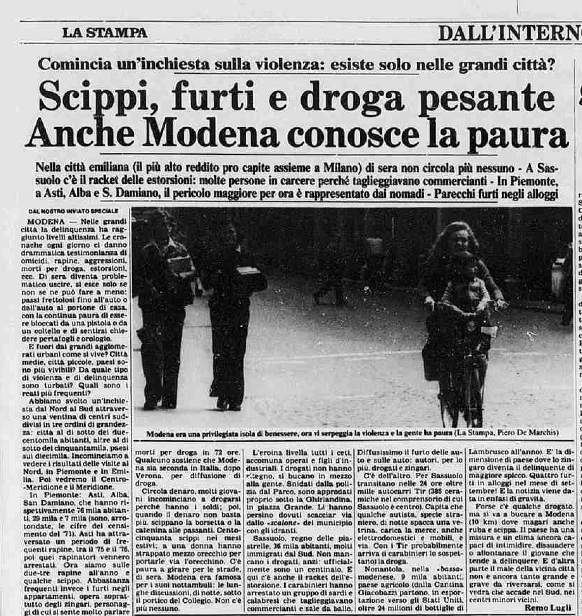 Un articolo dedicato a Modena su La Stampa, 1981