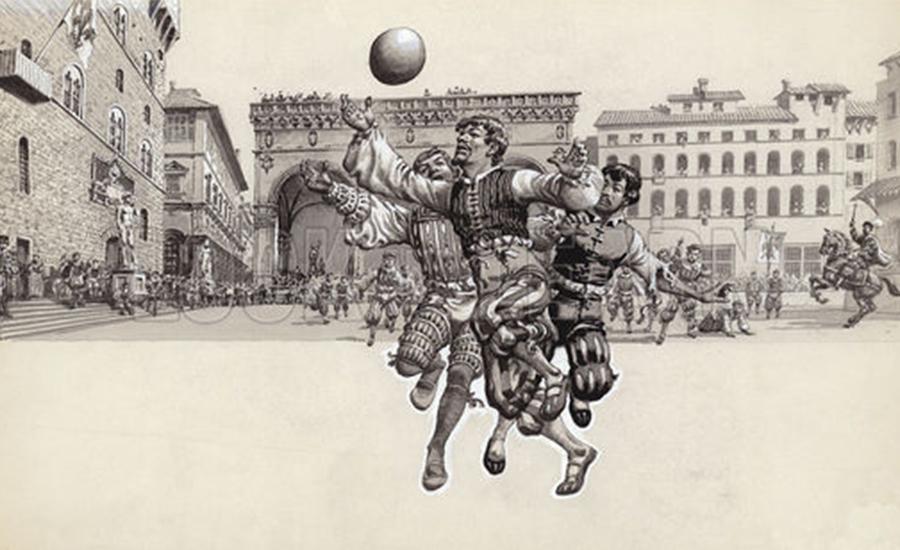 Il calcio storico, o calcio fiorentino, illustrato