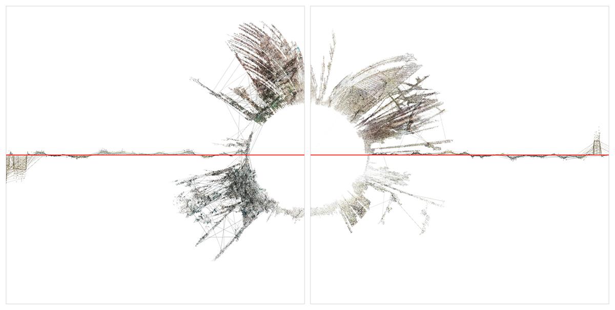 Ryoichi Kurokawa, oscillating continuum, 2013 Scultura audiovisiva (2 display quadrati, audio 2 canali), 924 x 800 x 422 mm, 8 minuti © L'artista