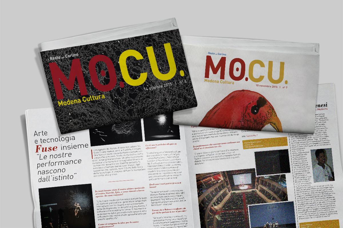 Copertine e grafica dei numeri cartacei del progetto MoCu Modena Cultura in collaborazione con il Resto del Carlino di Modena