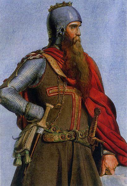 """Imperatore Federico I """"Barbarossa"""", Christian Siedentopf - incisione su rame colorata - 1847 PopHistory"""