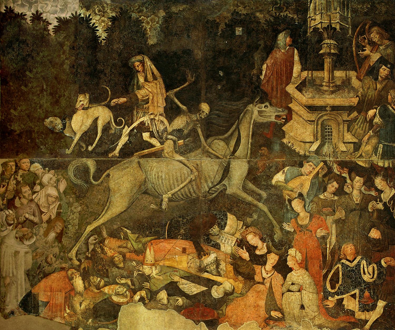 Trionfo della morte, Maestro del Trionfo della Morte, affresco per palazzo Sclafani ora alla Galleria Regionale di Palazzo Abbatellis, Palermo (1446) commiato Modena Cultura